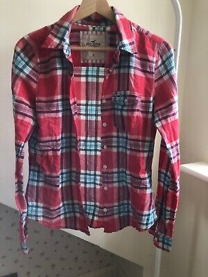 £9.99 • Buy Hollister Women's M Checked Button Up Shirt Red And Blue