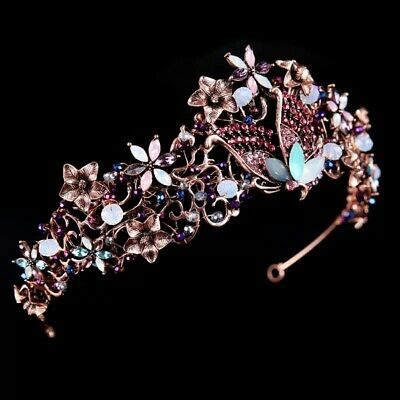 Pink Butterfly Vintage Tiara Diamante Prom Bridemaid Bridal Nature Party Flowers • 30£