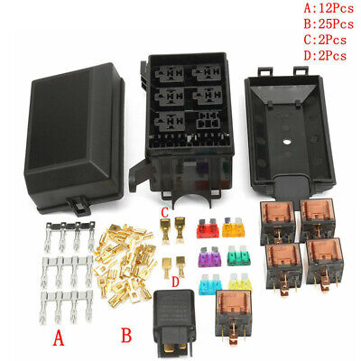 us universal 12v 6 way fuse box block relay holder kit for car trunk  insurance a
