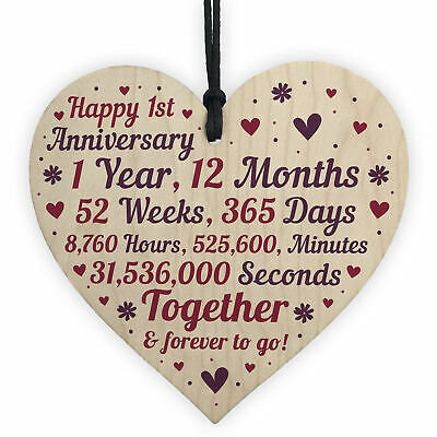 1st 2nd 5th 10th 20th 25th 50th Wedding Anniversary Wooden Heart Mr & Mrs Gifts • 3.99£
