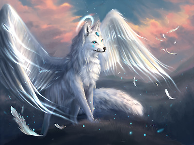 Fantasy Wolf Angel Halo Sky Landscape Wall Art Large Poster / Canvas Pictures • 16.99£
