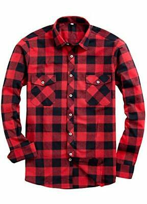 $9.99 • Buy NEW Unisex Red Black Buffalo Plaid Shirt Long Sleeve Button Down Flannel S M L