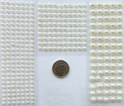 Self Adhesive Flat Back Ivory Pearl Gem Craft Sticker Choice Of 3, 4 Or 6mm Gems • 1.89£