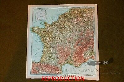 WW2 D-Day Zones Of France Silk Invasion Escape Map • 26.20£