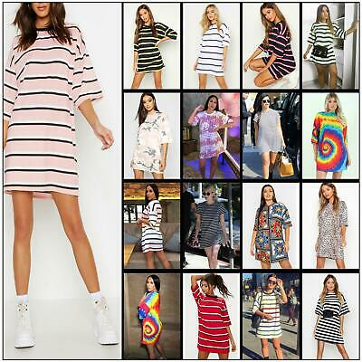 Womens Stripe Printed Baggy Oversized Boyfriend T-Shirt Dress Tunic Longline Top • 10.99£