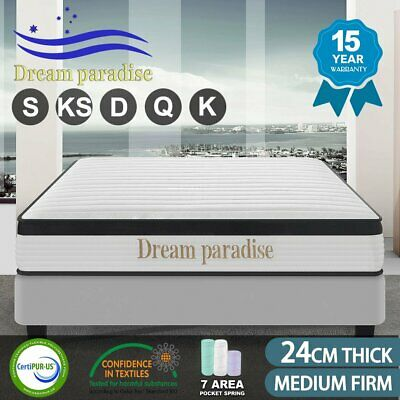 AU206.10 • Buy QUEEN KING SINGLE DOUBLE Dream Lover Bedding Mattress Top Pocket Spring