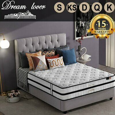AU188.10 • Buy DREAM LOVER Bed Mattress Queen Double King Single Mattress Euro Top Spring Foam