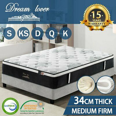 AU242.10 • Buy QUEEN DOUBLE KING SINGLE Mattress Bed Euro Top Pocket Spring Firm Foam * 9 Zone