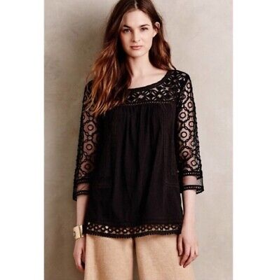 44a24be9ffa393 Meadow Rue Anthropologie Black Sheer Lace Crochet 3/4 Sleeve Mantra Blouse  Sz M •