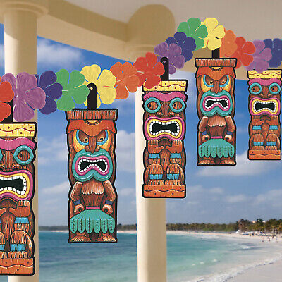 12ft Hawaiian Tropical Luau Tiki Head Flower Garland Hanging Party Decorations • 4.65£