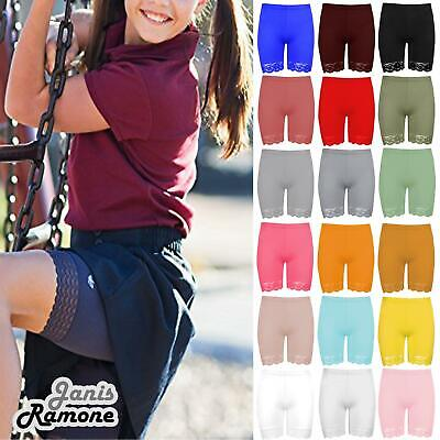 New Girls Kids Plain Lace Trim Viscose Dance Active Tights Summer Cycling Shorts • 4.99£