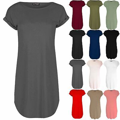 Ladies Womens Oversized Baggy Turn Up Sleeve Curved Hem T-Shirt Tunic Mini Dress • 7.99£