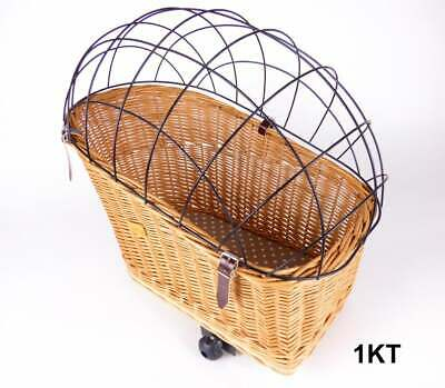 Wiklibox Wicker Bike Rack Dog Cat Carrier In NATURAL Color Iron Cage Solid Eco • 55.20£
