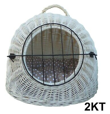 Wiklibox Handmade Wicker Cat Dog Carrier In ECRU Creamy Colour + Cushion Crate • 55.20£
