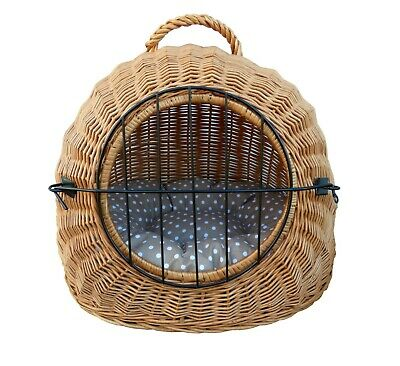 Wiklibox Handmade Wicker Cat Or Dog Carrier In NATURAL Color Cushion Crate 15 Kg • 45.60£