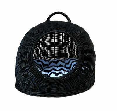Wiklibox Handmade Wicker Cat Or Dog Carrier In BLACK Color Cushion Crate 15 Kg • 55.20£