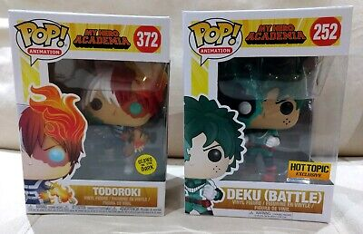 $39.99 • Buy Funko Pop My Hero Academia Hot Topic Battle Deku + Glow GITD Todoroki Exclusive