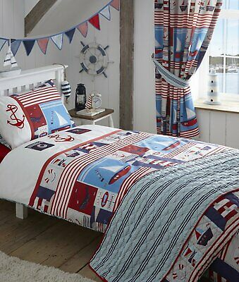 Double Bed Duvet Cover Set Maritime Nautical Anchor Whale Signs Embroidery  • 22.99£