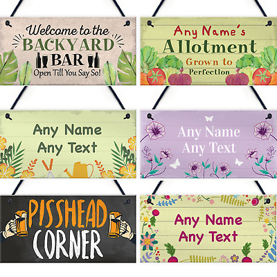 Personalised Garden Backyard Bar Allotment Shed Hanging Sign Alcohol Flowers • 6.99£
