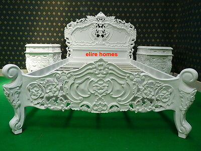 UK STOCK 5' UK King Size White French Style Designer Rococo Bed TOP QUALITY • 849£