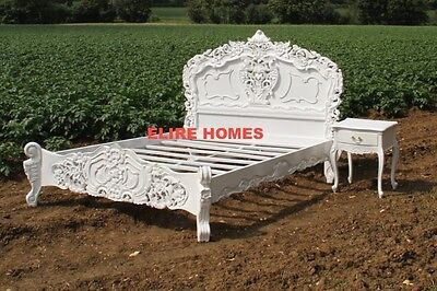 BESPOKE Double Or King Size WHITE Black Shabby Cream French ROCOCO Bed Chic Wood • 849£