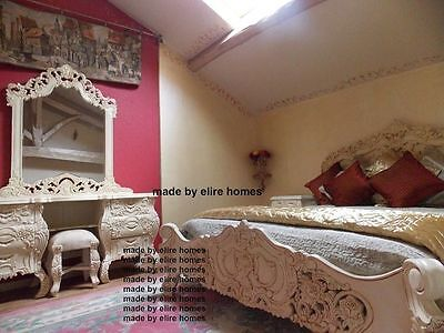 £2299 • Buy White Or Cream Rococo Bedroom Set With 6' Bed And Dressing Table Carved Mahogany