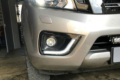 Fog Light Surrounds To Fit Nissan Navara NP300 - Black With DRL Lights  • 89£