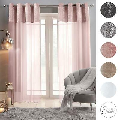 Sienna Crushed Velvet Voile PAIR Of Net Eyelet Ring Top Curtains Blush Silver • 12.99£
