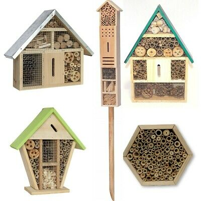 £12.99 • Buy Wooden Insect Bug Hotel House Outdoor Garden Natural Shelter Bees Flies Ladybird