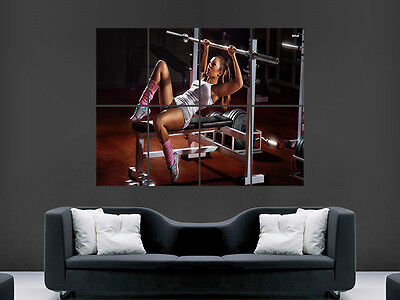 Gym Exercise Hot Sexy Girl Weights   Art  Huge Large Wall  Poster Picture • 17.99£