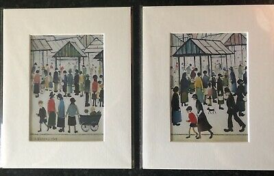 TWO SMALL LS Lowry Prints In Mount Ready To Frame - Just £8.50 • 8.50£