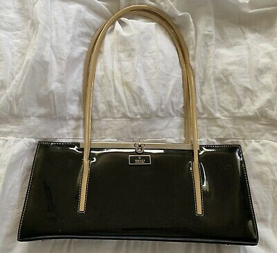 94493a0de GUCCI Black Patent Leather Clutch W/ Shoulder Straps • 49.95$