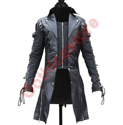 Men Black Gothic Coat Lamb Skin Real Leather Goth Steampunk Jacket • 99.99£