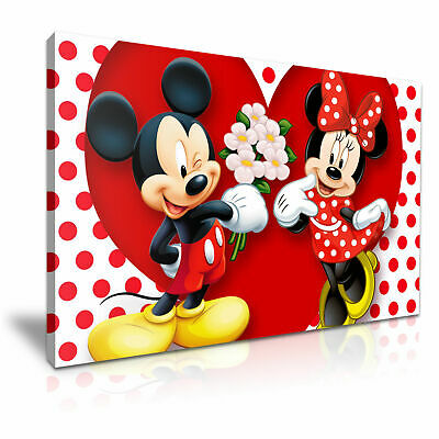 DISNEY Mickey Mouse & Minnie Canvas Wall Art Wood Framed Ready To Hang XXL • 10£