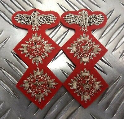 Genuine Military Issue Officers Braided 2 Pip & Eagle Insignia Patches L & R • 6.99£