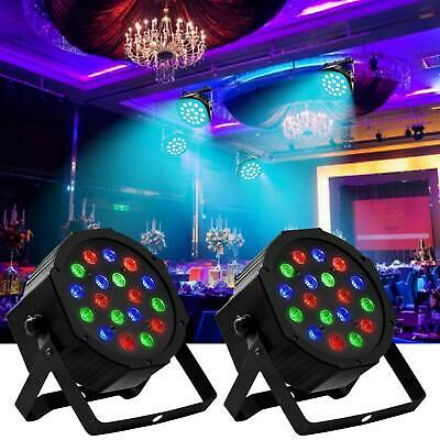 2PCS RGB 18LED 54W Par Stage Projector Lighting Wedding DJ Party Disco Lights • 24.99$