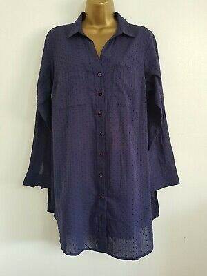 NEW Yours Plus Size 14-36 Pure Cotton Navy Spotted Textured Tunic Shirt Dress • 7.50£