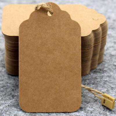 100pcs Brown Kraft Paper Gift Tags Wedding Scallop Label Blank Luggage + Strings • 2.29£