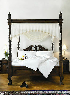 £1499 • Buy 6' Super King Queen Anne Style Four Poster St James Mahogany French Canopy Bed