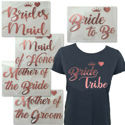 £2.49 • Buy A5 Bride Tribe Iron On Vinyl T Shirt Transfer Hen Party Night Rose Gold Colour