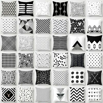 Geometric Cushion Cover Black And White Polyester Throw Square Pillow Case 18'' • 2.43£