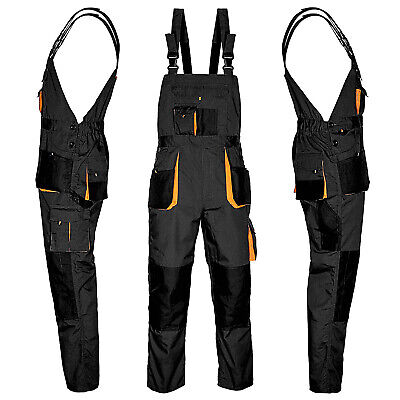 Bib And Brace Overalls MENS WORK TROUSERS Knee Pad Multi Pocket Dungarees NEW • 17.89£
