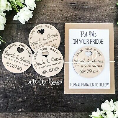 AU4 • Buy Save The Date Personalised Wooden Event Party Wedding Invitation Magnet