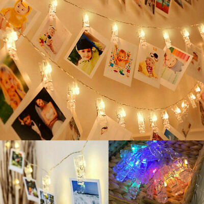 30 LED Hanging Picture Photo Peg Clip Fairy String Lights Wedding Window Decor • 5.99£
