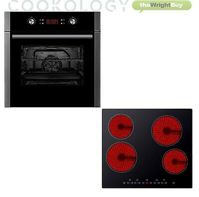 Cookology 60cm Self-Cleaning Pyrolytic Fan Oven & Touch Control Ceramic Hob Pack • 429.99£