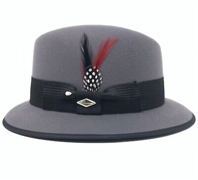 $44.95 • Buy Mens Gray Felt Lowrider Fedora Hat (Whittier) With Red Feather