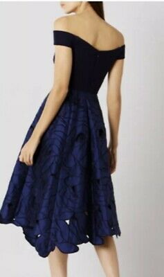 Beautiful Coast Women's Navy Floral Midi Occasion Dress, Size 12 • 65£