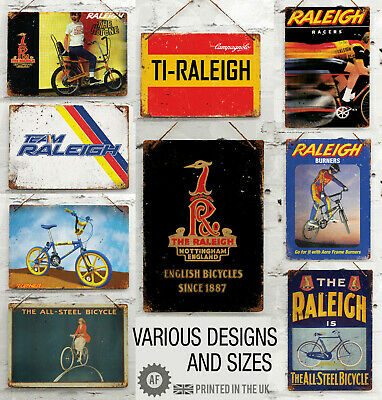 £10.07 • Buy RETRO RALEIGH Cycling Collection Metal Wall Sign Bar Garage Shed Mancave Turbo
