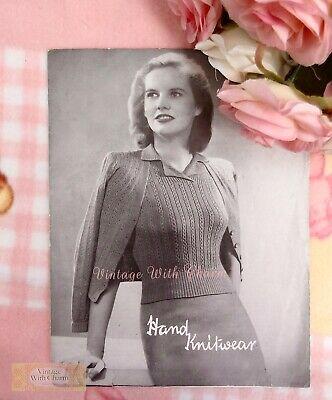 £2.99 • Buy Vintage 1940s Lady's 'Amber' Twin Set Knitting Pattern Fit 34-36in. Bust