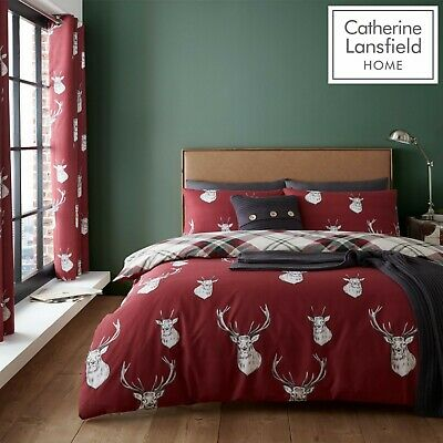 £13.99 • Buy Catherine Lansfield Munro Stag Check Reversible Duvet Cover Bedding Set Red